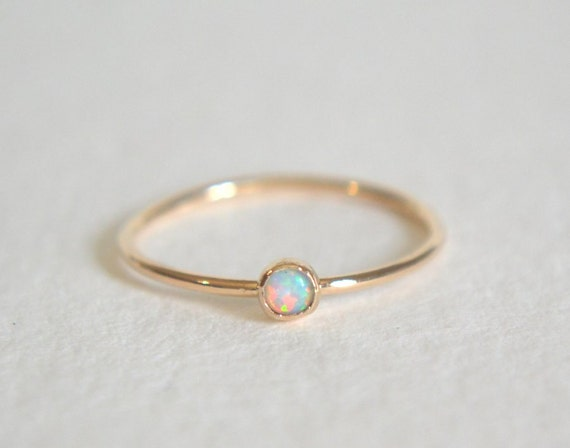 One Gold Filled Opal Ring, Stacking Ring, Opal 14k Gold Ring, Dainty Opal Ring, Stackable Ring