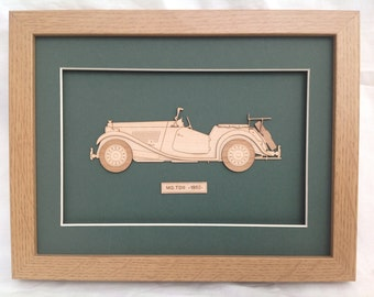 Classic Car MG Lasercut wood