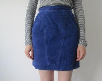 Vintage 1970s Electric Blue Suede Skirt