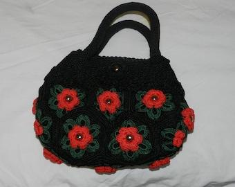 Handmade Knit/Crochet hand bag in Black and Red flowers, crochet hand bag, flower purse