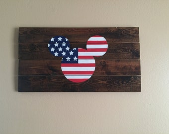 Mickey Mouse Sign- American Flag
