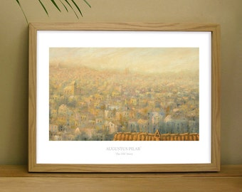 Fine art print of oil painting of 'The Old Town'