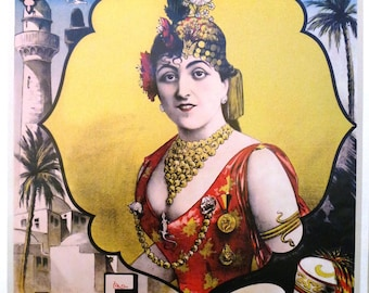 Vintage print poster folies bergères Tunisia