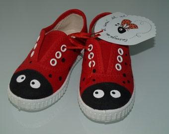 Ladybug slippers - hand painted