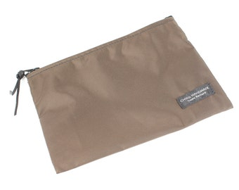 8x6 inch Brown basic nylon zipper pouch -- use for travel, snacks, cosmetics, a tool bag, photo-video gear, and more!