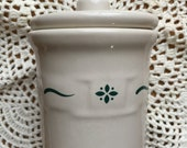 Retired Longaberger Pottery Woven Traditions Green Condiment Jar with Lid