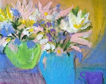 Collectible Small Art Original Art/Mini Painting - Pastel Still Life