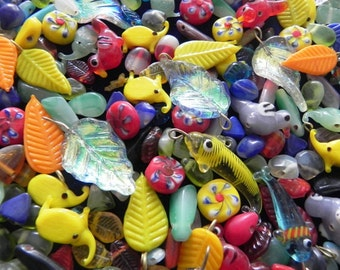 200 pcs. New handmade lampwork  glass charms /fishes/bird/elephant in multy mix color combination  Approx 8 mm -  40 mm