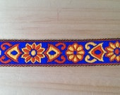 1 Metre Blue, Orange & Yellow Floral Ribbon From India 20mm Wide