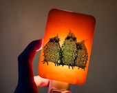 Baby Owls Fused Glass Nightlight on Orange Fused Glass Night Light - Gift for Baby Shower or Nature Lover - Adorable baby owl triplet