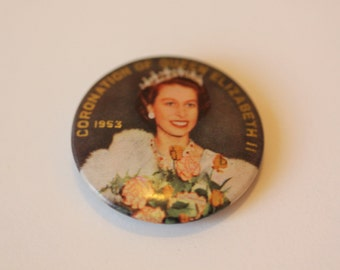 Queen Elizabeth II Coronation pinback button 1953