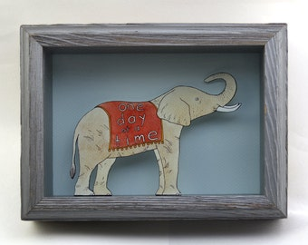 One Day At A Time- printed elephant shadow box- MADE TO ORDER