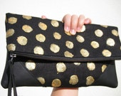 Gold hand painted Folded over clutch leather large travel evening bag holiday handmade gift leather strap