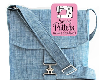 Messenger Bag PDF Sewing Pattern | Cross Body Mail Bag Sewing Pattern PDF Instructions