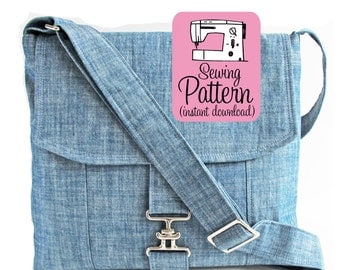 Messenger Bag PDF Sewing Pattern | Bag Sewing Pattern PDF | Cross Body Bag PDF Sewing Instructions