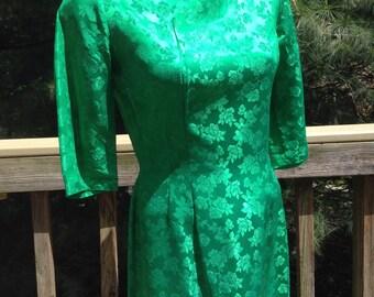 Vintage Green Brocade Dress Roses