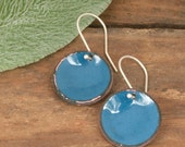 Enameled lucky penny earrings, bright and colorful