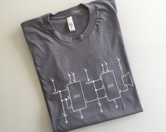 Simple Synth, Circuit Diagram tee, screenprinted tee, music shirt, nerd gift, musician gift (slate gray - unisex S)