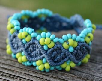 Micro-Macrame Beaded Hemp Cuff Bracelet - Blue and Green with Braided Tie-On Closure