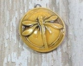 Nouveau Dragonfly Pendant in Golden Yellow