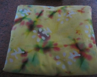 5 yards 44 inch wide yellow, green,  and red tie dye effect cotton blend fabric