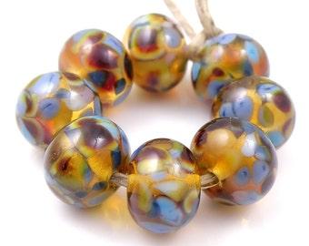 Golden Age - Handmade Artisan Lampwork Glass Beads 8mmx12mm - Blue, Purple, Amber - SRA (Set of 8 Beads)
