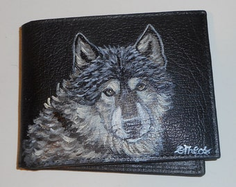 Timber Wolf Hand Painted Leather Men's Wallet Gifts for men