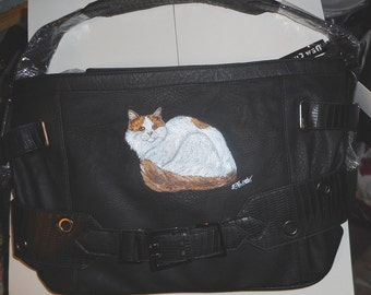 Turkish Van Cat Hand Painted Faux Leather Handbag Totebag Vegan Purse Bag
