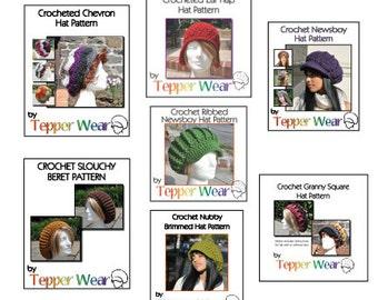 Seven Crochet Hat Patterns - 3 Newsboy Hat Patterns, Ear Flap Hat Pattern, Granny Square Hat Pattern, Chevron Hat Pattern, Beret Pattern