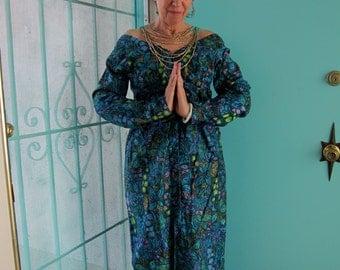 60s Lauhala Vintage Hawaiian Dress Empire Maxi - 1960s Lush Sea Island Tropical Butterfly Cotton Print Blue Green Sixties Mad Men Party M
