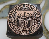 Vintage Letterpress Printers Block American Surgical Trade Association