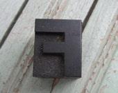 Vintage Letterpress Wood Type Printers Block Letter F