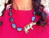 SALE Necklace, Grey Statement Necklace, Grey Necklace, Statement Necklace, Rhino Necklace, Pyrite Necklace, Rhinoceros Necklace, Rhinos