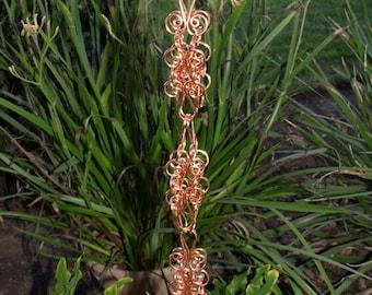7 ft Solid Copper Heavy Cluster  Rain Chain  - Kusari Doi - Feng Shui Zen Outdoor Garden Decor - Water Feature - Handcrafted Metalwork