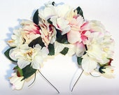 Ivory Frida Kahlo Flower Crown Day of the Dead Floral Headband Mexican Wedding Flowers