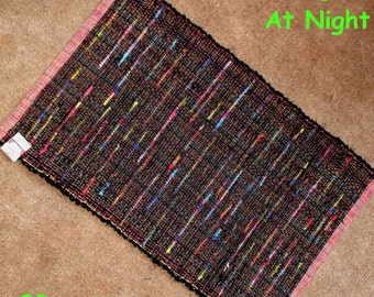 Handwoven Rug --- Neon Lights at Night ---  28x44