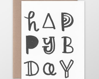 Happy B Day Funky Type Card