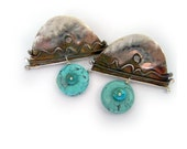 Arch shaped Post earrings in solid sterling silver with  turquoisePi One of a kind by Cathleen McLain