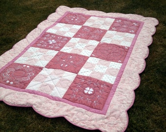 Heirloom Hand Quilted Embroidered Quilt - Pink Hearts, Scalloped Edges, Luxurious Wool Batting
