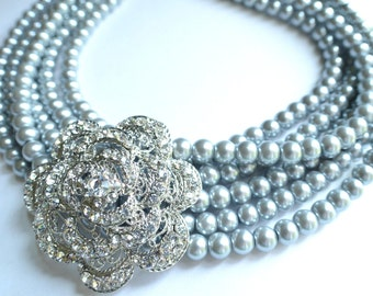 Diane - Silver Pearl Rhinestone Brooch Statement Necklace