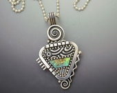 Sterling silver little triangle pendant necklace with blue teal green iridescent mosaic inlay polymer clay sterling bead chain