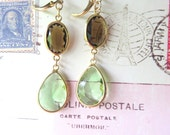 RESERVED FOR DEE Long Teardrop Earrings - Lime Green and Chocolate Brown - Gold Plated Fashion Earrings - Gold Lever Back Ear Wires
