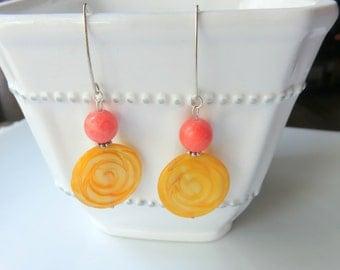 Sunshine Yellow Shell Earrings - Circle Jade and Shell Earrings - Citrus Summer Beach Earrings - Bright Boho Jewelry - Long Nautical Earring