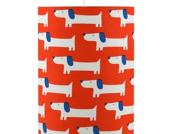 Red Sausage Dogs Drum Lamp Shade
