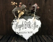 HAPPILY EVER AFTER Begins Now Sign, Heart Sign, Here Comes the Bride Sign, Flower Girl Sign, Ringbearer Sign, Wedding Sign