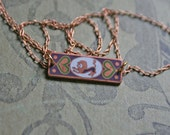 Leo Zodiac Necklace / Vintage / Enamel / Lion / Star Sign