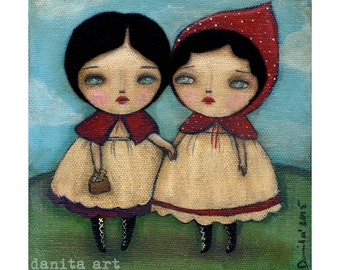 To Grandma we go, and you'll never be afraid again - surreal print reproduction of original mixed media of Little Red Riding Hood by Danita
