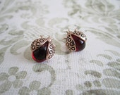 Red Gold Plated Ladybug Glass Stud Earrings