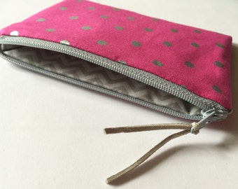 Polka Dots on Magenta - Zipper Pouch - Cosmetics Bag - Clutch