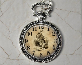 I'm Late - Alice in Wonderland Rabbit Pendant Necklace - Faux Pocket Watch with Rabbit